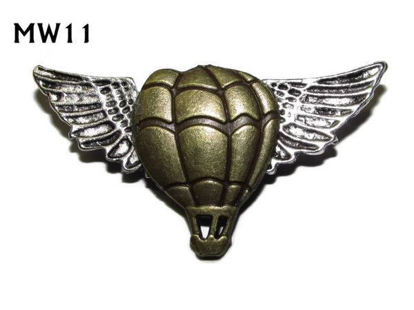 Badge, MW11, Bronze Balloon, silver wings (45mm wide)