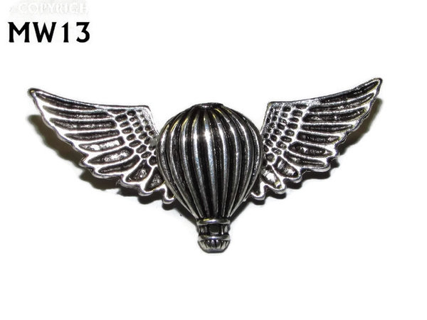 Badge, MW13, Silver Balloon, silver wings (45mm wide)