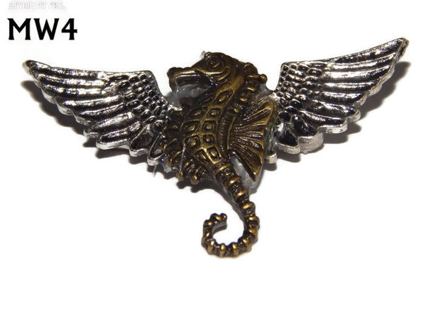 Badge, MW04, Seahorse, silver wings (45mm wide)