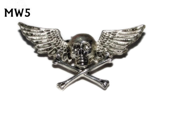 Badge, MW05, Skull & Cossbones, silver wings (45mm wide)