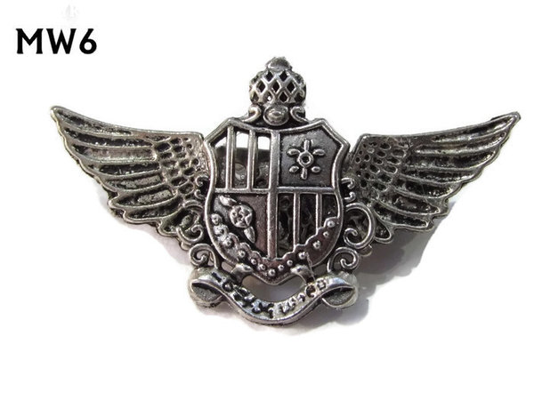 Badge, MW06, Crest, silver wings (45mm wide)