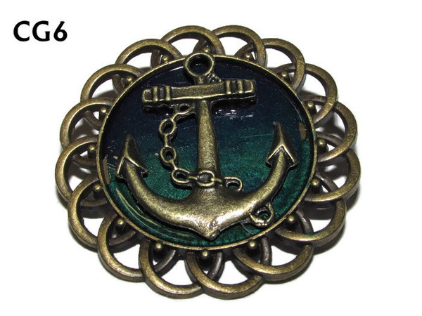 Badge / Brooch, CG06, Anchor bronze, Green/Blue, Round Curly Edge, (44mm dia)