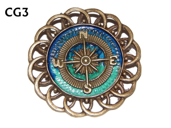Badge / Brooch, CG03, Compass - bronze, Green/Blue, Round Curly Edge, (44mm dia)