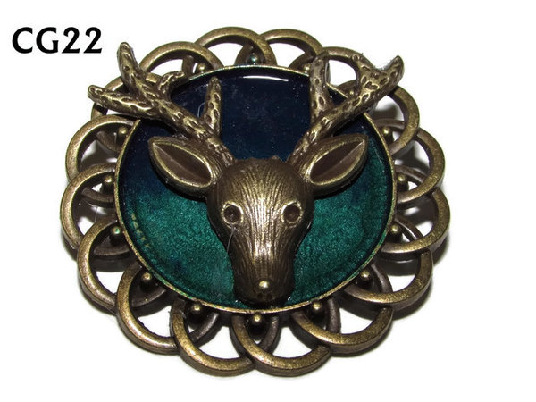Badge / Brooch, CG22, Stag, Green/Blue, Round Curly Edge, (44mm dia)