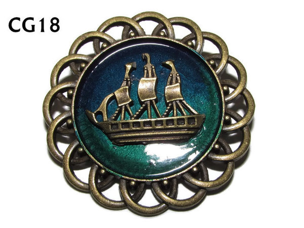 Badge / Brooch, CG18, Ship bronze, Green/Blue, Round Curly Edge, (44mm dia)