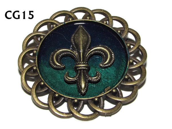Badge / Brooch, CG15, Fleur de Lis bronze, Green/Blue, Round Curly Edge, (44mm dia)