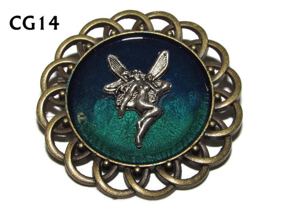 Badge / Brooch, CG14, Fairy, Green/Blue, Round Curly Edge, (44mm dia)