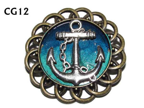 Badge / Brooch, CG12,  Anchor silver, Green/Blue, Round Curly Edge, (44mm dia)