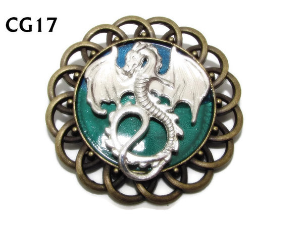Badge / Brooch, CG17, Dragon (flat), Green/Blue, Round Curly Edge, (44mm dia)