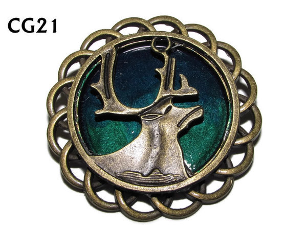Badge / Brooch, CG21, Stag, Green/Blue, Round Curly Edge, (44mm dia)