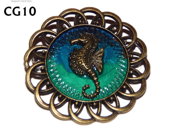 Badge / Brooch, CG10, Seahorse, Green/Blue, Round Curly Edge, (44mm dia)