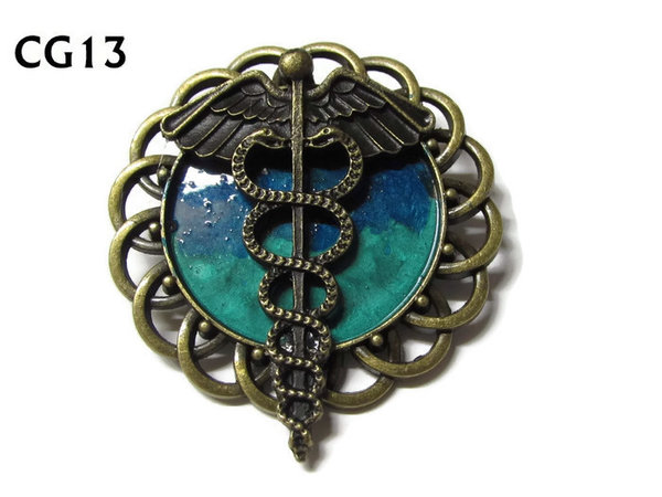 Badge / Brooch, CG13, Caduceus bronze, Green/Blue, Round Curly Edge, (44mm dia)