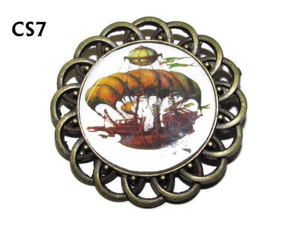 Badge / Brooch, CS07, Steampunk Airship, Round Curly Edge, (44mm dia)