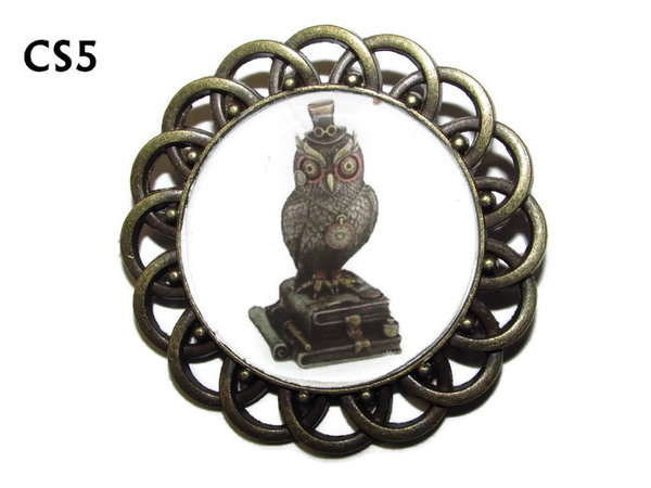 Badge / Brooch, CS05, Steampunk Book Owl Graphic, Round Curly Edge, (44mm dia)