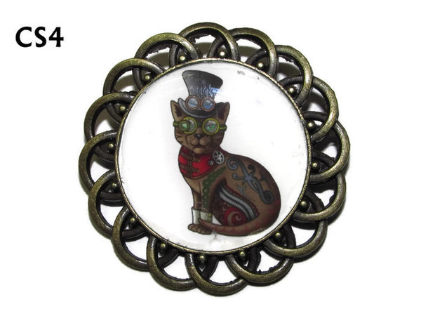 Badge / Brooch, CS04, Steampunk Cat Graphic, Round Curly Edge, (44mm dia)