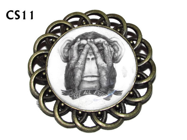 Badge / Brooch, CS11, See All Evil Monkey Graphic, Round Curly Edge, (44mm dia)