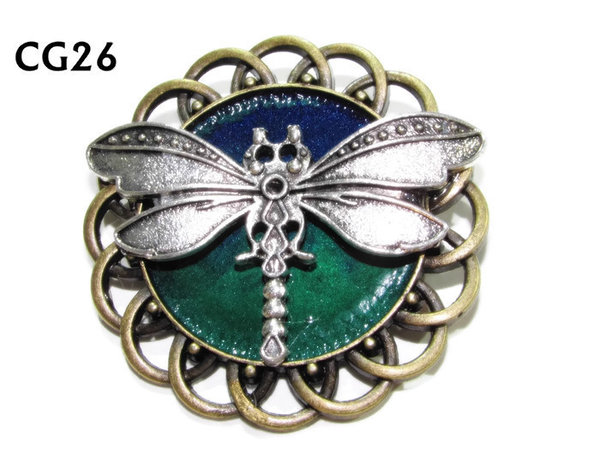 Badge / Brooch, CG27, Dragonfly, Green/Blue, Round Curly Edge, (44mm dia)