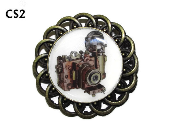 Badge / Brooch, CS02, Steampunk Camera Graphic, Round Curly Edge, (44mm dia)