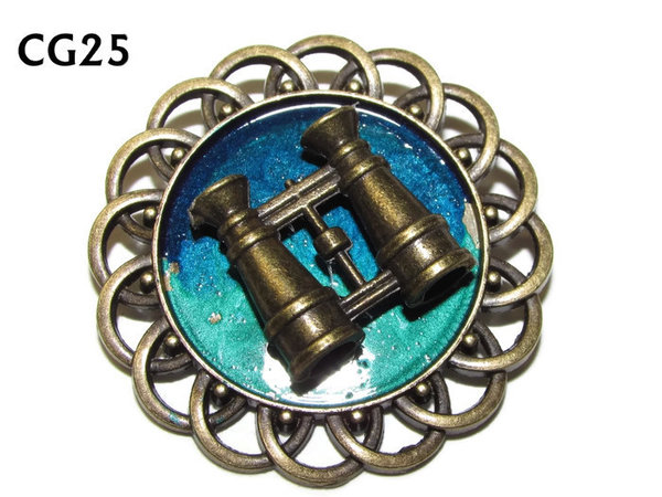 Badge / Brooch, CG25, Binoculars, Green/Blue, Round Curly Edge, (44mm dia)
