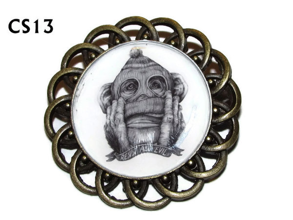 Badge / Brooch, CS13, Resist All Evil Monkey Graphic, Round Curly Edge, (44mm dia)