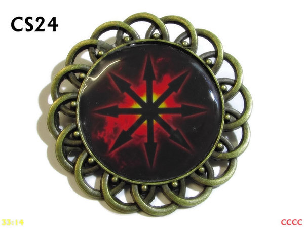 Badge / Brooch, CS24, Chaos Star Graphic, Round Curly Edge, (44mm dia)