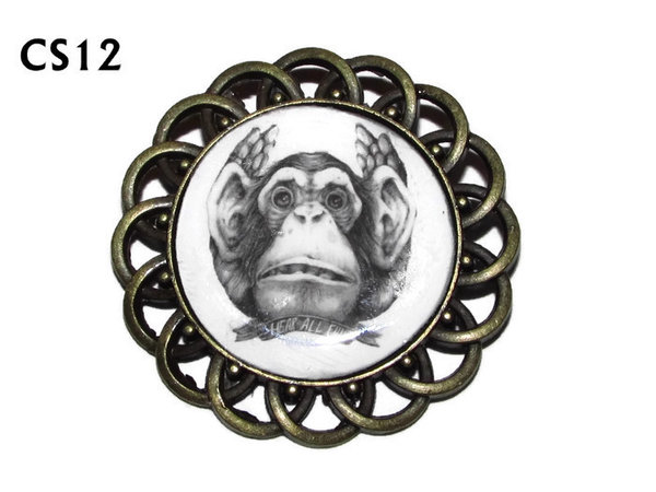 Badge / Brooch, CS12, Hear All Evil Monkey Graphic, Round Curly Edge, (44mm dia)