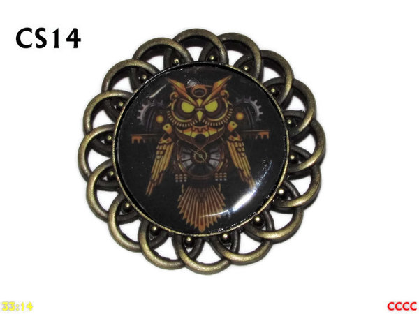 Badge / Brooch, CS14, Steampunk Owl Graphic, Round Curly Edge, (44mm dia)