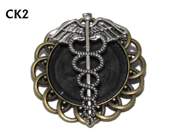 Badge / Brooch, CK02, Caduceus silver, Black, Round Curly Edge, (44mm dia)