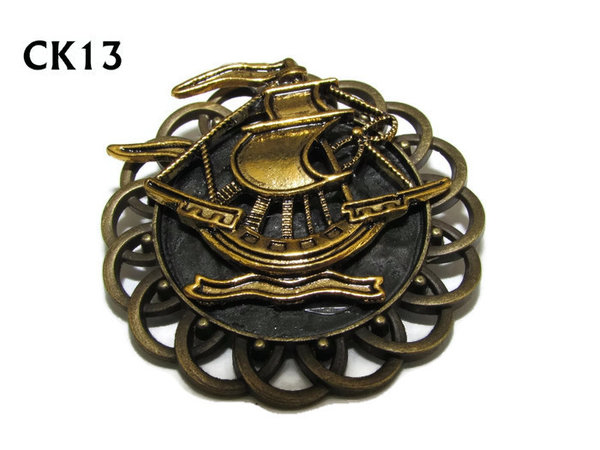 Badge / Brooch, CK13, Ship gold, Black, Round Curly Edge, (44mm dia)