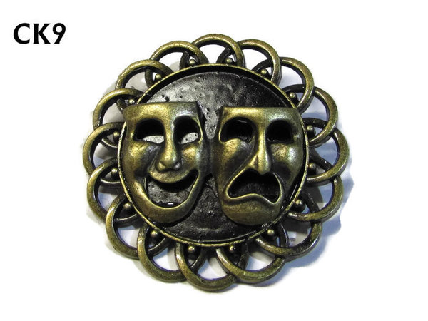 Badge / Brooch, CK09, Comedy & Tragedy Masks, Black, Round Curly Edge, (44mm dia)