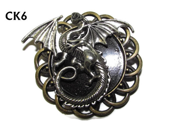 Badge / Brooch, CK06, Dragon silver, Black, Round Curly Edge, (44mm dia)