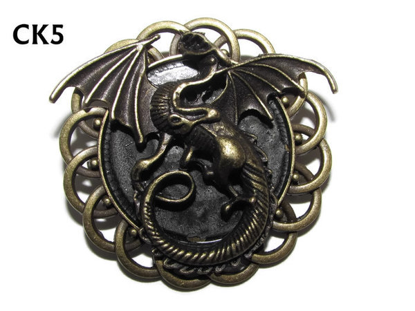 Badge / Brooch, CK05, Dragon bronze, Black, Round Curly Edge, (44mm dia)