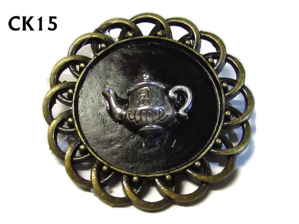 Badge / Brooch, CK15, silver Teapot, Black, Round Curly Edge, (44mm dia)