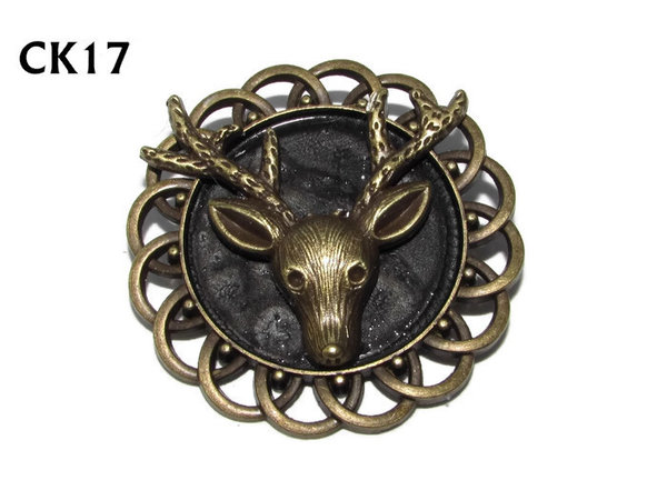 Badge / Brooch, CK17, Stag, Black, Round Curly Edge, (44mm dia)