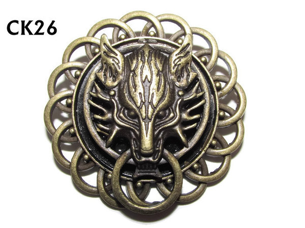 Badge / Brooch, CK26, Wolf bronze, Black, Round Curly Edge, (44mm dia)