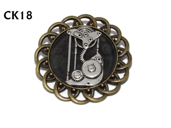Badge / Brooch, CK18, Steampunk Pulley, Black, Round Curly Edge, (44mm dia)
