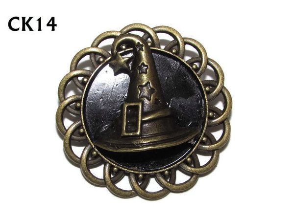 Badge / Brooch, CK14, Witch's / Sorting Hat, Black, Round Curly Edge, (44mm dia)