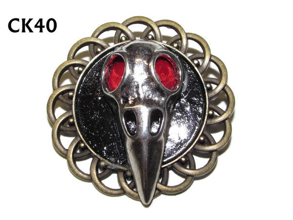 Badge / Brooch, CK40, Bird Mask silver, Black, Round Curly Edge, (44mm dia)