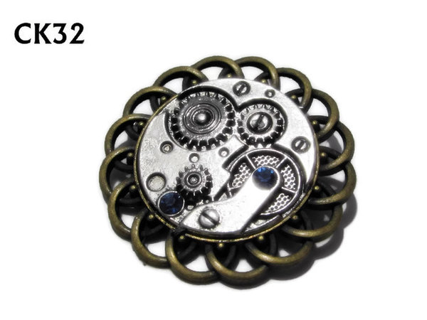 Badge / Brooch, CK32, Clockworkings crystals silver, Black, Round Curly Edge, (44mm dia)