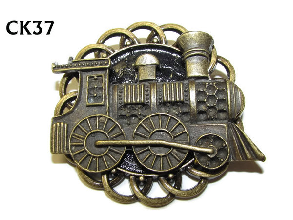 Badge / Brooch, CK37, Locomotive bronze, Black, Round Curly Edge, (44mm dia)