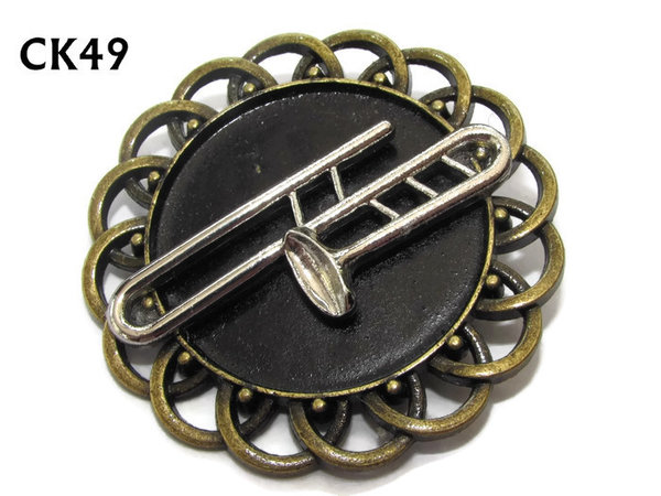 Badge / Brooch, CK49, Trombone, Black, Round Curly Edge, (44mm dia)