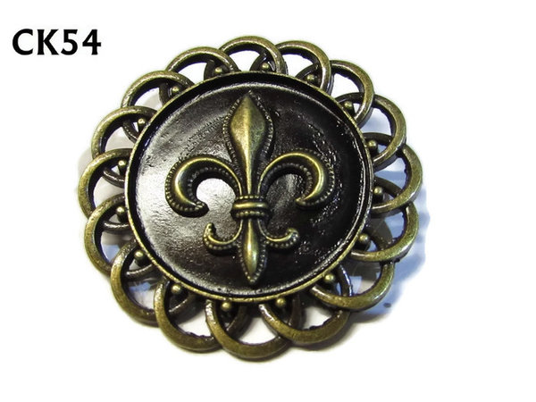 Badge / Brooch, CK54, Fleur de Lis bronze, Black, Round Curly Edge, (44mm dia)