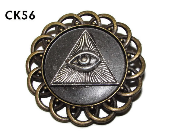 Badge / Brooch, CK56, Eye of Providence, Black, Round Curly Edge, (44mm dia)