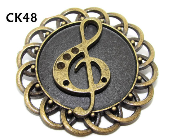Badge / Brooch, CK48, bronze Treble Clef, Black, Round Curly Edge, (44mm dia)