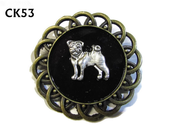 Badge / Brooch, CK53, Pug, Black, Round Curly Edge, (44mm dia)