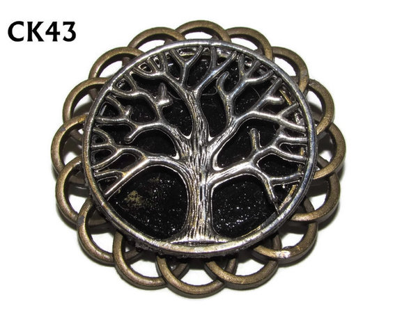 Badge / Brooch, CK43, Tree, Black, Round Curly Edge, (44mm dia)