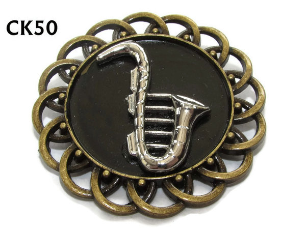 Badge / Brooch, CK50, Saxophone, Black, Round Curly Edge, (44mm dia)