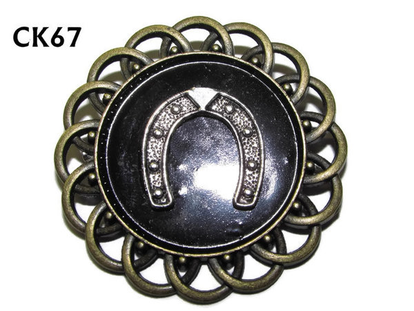 Badge / Brooch, CK67, Horseshoe (down), Black, Round Curly Edge, (44mm dia)
