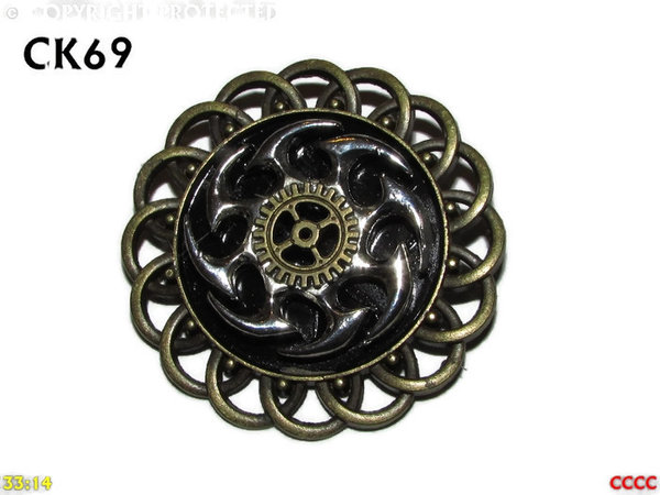 Badge / Brooch, CK69, Aero Engine, chaos wheel, Black, Round Curly edged Back, (44mm dia)