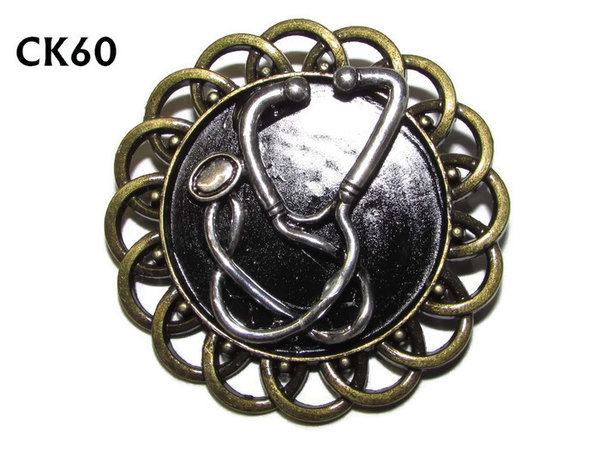 Badge / Brooch, Ck60, Stethoscope, Black, Round Curly Edge, (44mm dia)